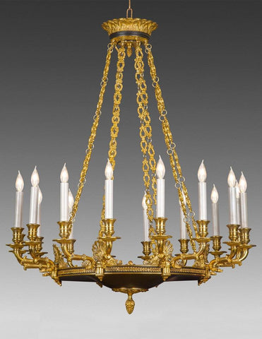 Cast Brass And Metal Sixteen Light Chandelier LCFI-75