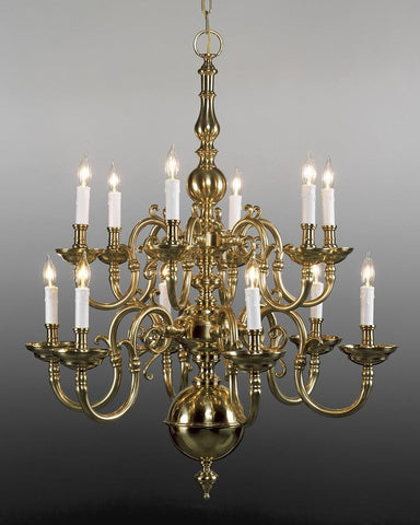 Cast brass Chippendale style twelve light two tier chandelier LCFI-2a