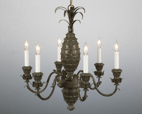 Metal and wood pineapple design chandelier LCFI-33
