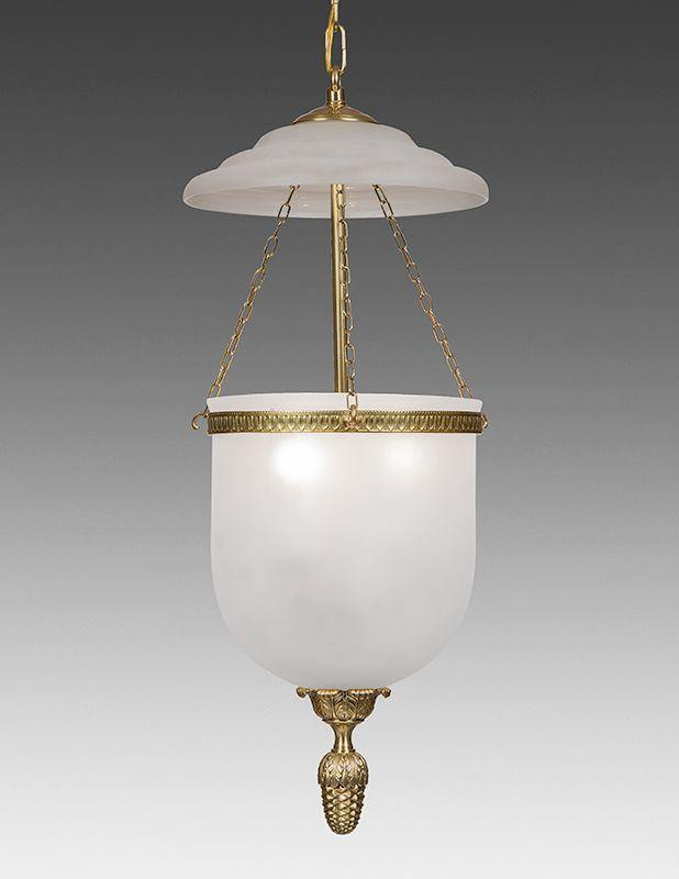 Bell Jar Lantern Adorned With Decorated Finial And Frosted Glass Ll 94b