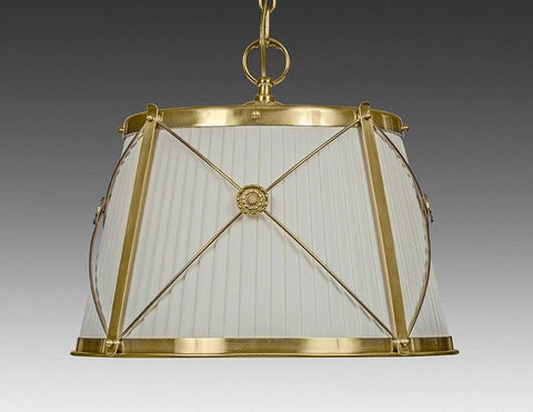 Brass And Fabric Shade X Design Three Light Chandelier LCFI-68