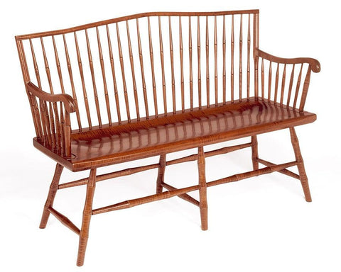 Camel Back settee with ribbed scroll arms FSW-5