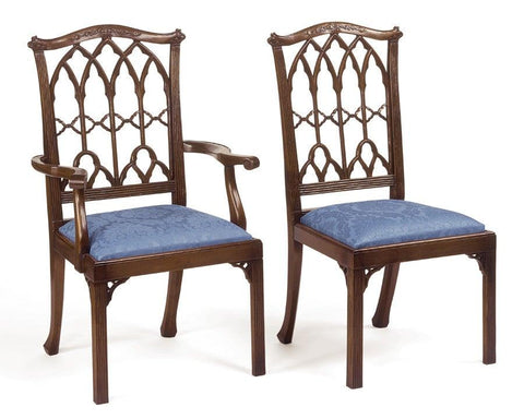 Chippendale style carved arch back arm chair and side chair FSFI-28