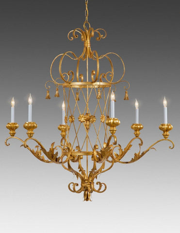 Metal criss cross and tassel design six light chandelier LCFI-45