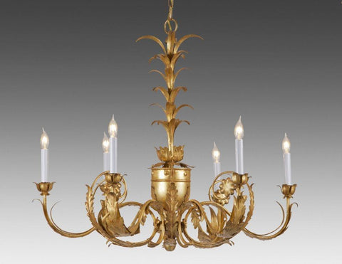 Metal urn, leaf and flower design six light chandelier LCFI-47