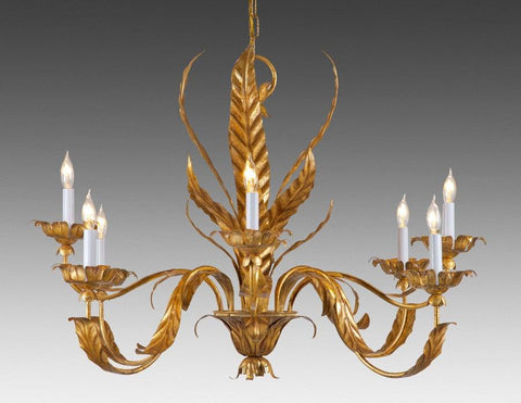 Metal Leaf Design Eight Light Chandelier LCFI-52