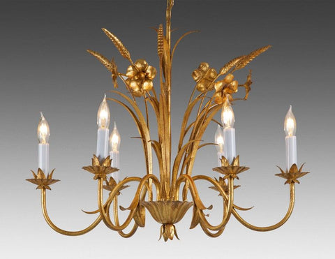 Metal Flower And Wheat Design Six Light Chandelier LCFI-50