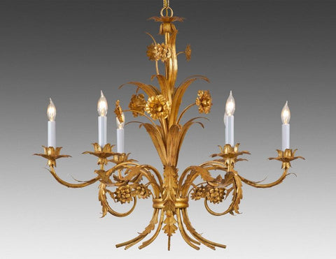 Metal Flower And Leaf Design Six Light Chandelier LCFI-49
