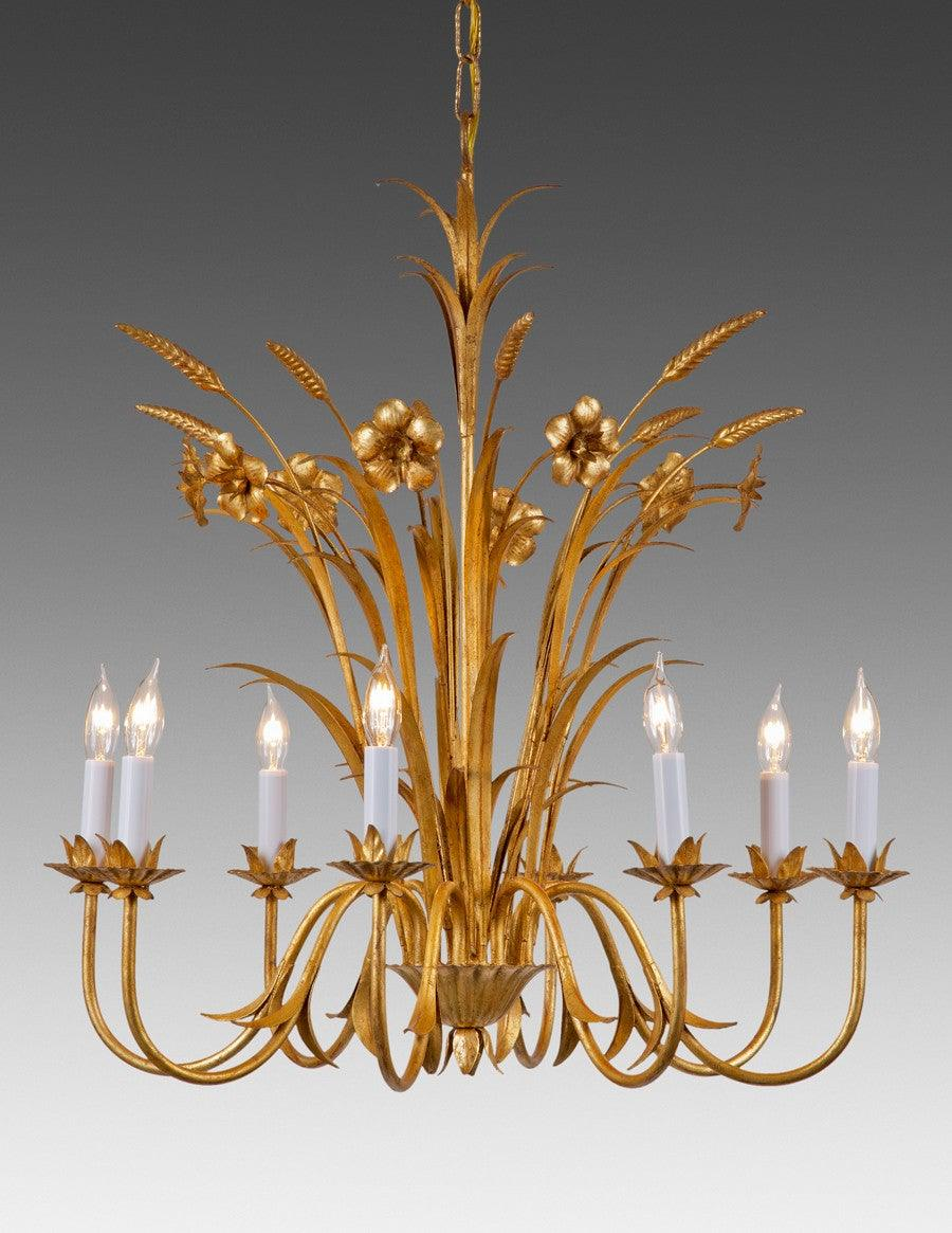 Metal flower and wheat design eight light chandelier lcfi 51 metal flower and wheat design eight light chandelier lcfi 51 arubaitofo Image collections