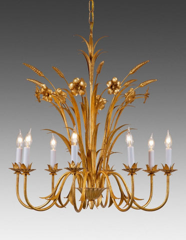 Metal Flower And Wheat Design Eight Light Chandelier LCFI-51