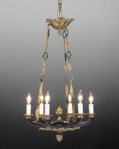 Cast brass six light chandelier LCFI-15