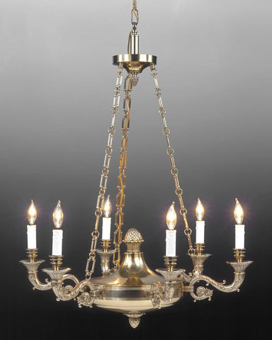 Cast Brass Federal Style Chandelier LCFI-7A