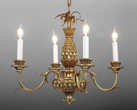 Metal and wood pineapple design four light chandelier LCFI-34