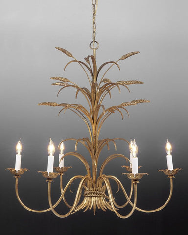 Metal wheat design six light chandelier LCFI-28