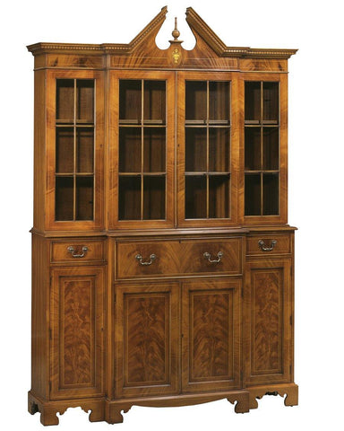 Stepback Desk And Bookcase With A Broken Pediment Top With Finial FDS-5a