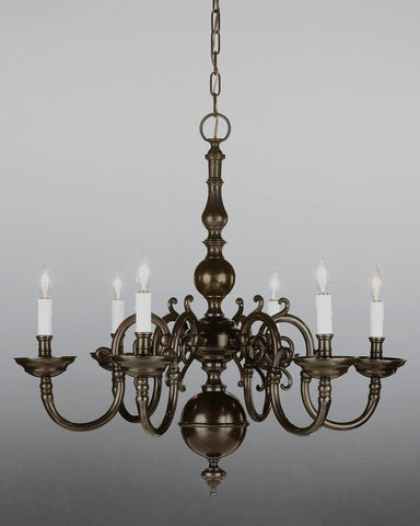 Cast Brass Chippendale Style Six Light Chandelier LCFI-4A
