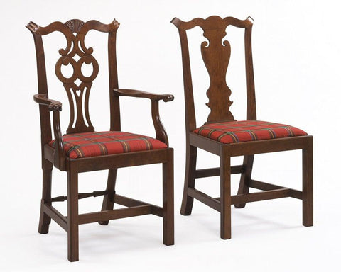 Chippendale style carved fan back design arm chair and solid splat side chair FSFI-45
