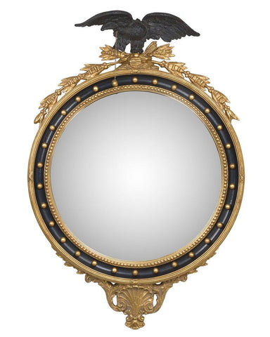 Round Girandole Convex Mirror With Black Eagle And Decoration MC-12