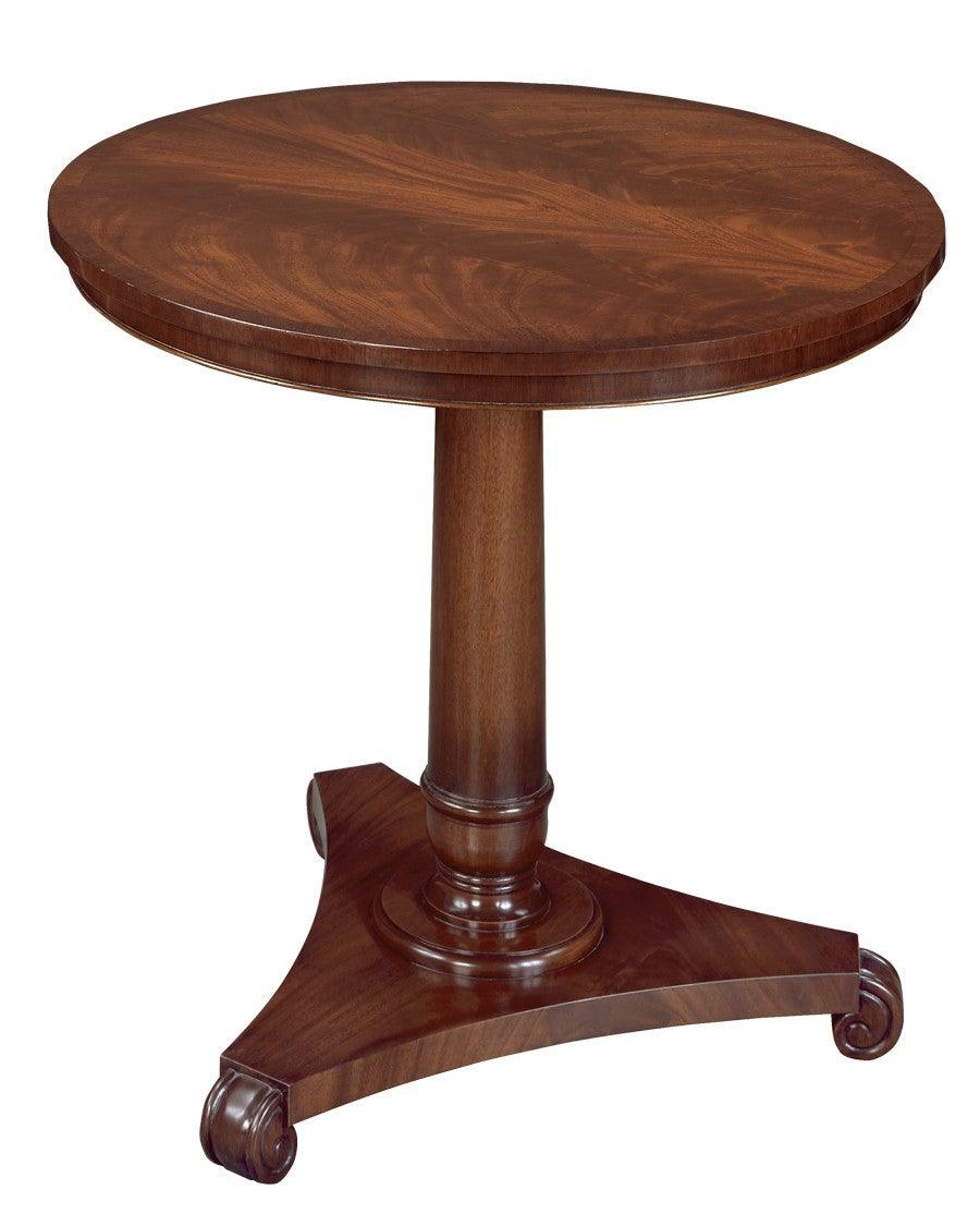 Round Side Table With Turned Pedestal And Triangular Base FOSTS 24