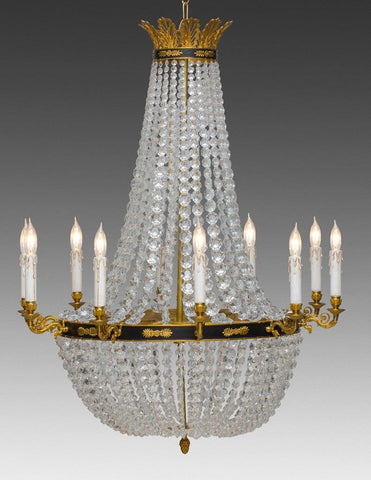 Crystal and cast brass ten light chandelier LCC-29