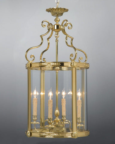 Cast Brass And Glass Lantern With Applied Decoration LL-12