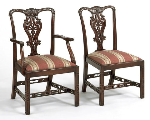 Chippendale style carved knot back design arm chair and side chair FSFI-21