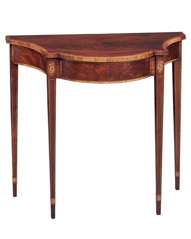 Shaped top demilune table with satinwood banding FOD-3