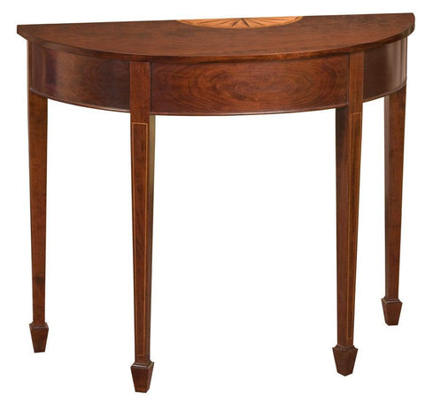 Demilune table with inlaid fan, stringing and spade feet FOD-2