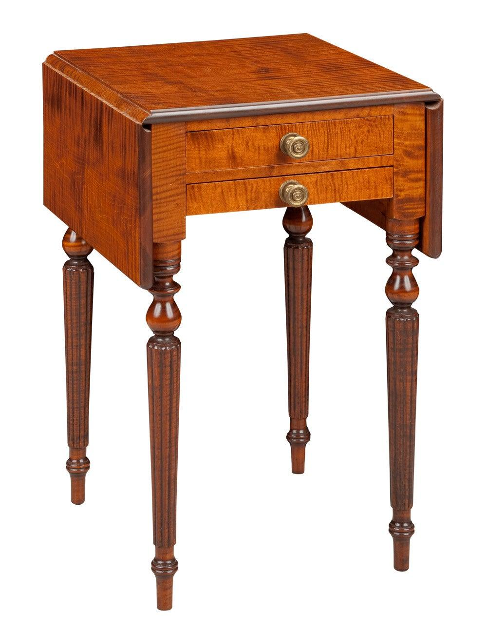 Genial Drop Leaf Side Table With Two Drawers FOSTS 64a
