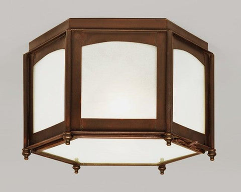 Open Bottom Hexagonal Lantern And Frosted Glass LEH-27