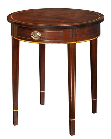 Round top side table with inset white boxwood line inlay FOSTS-59