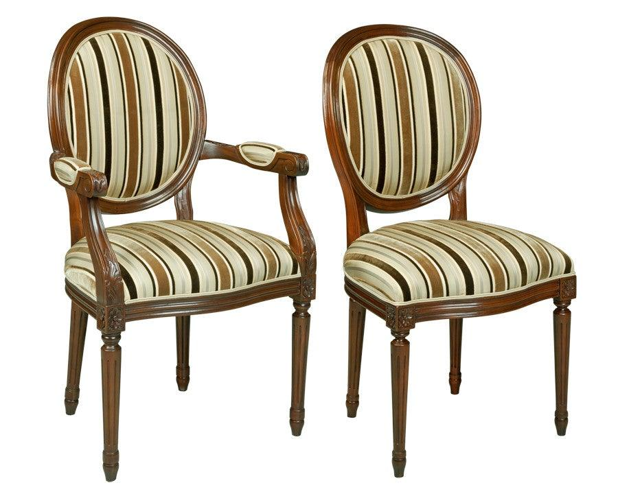 French Louis XVI Style Chaise Upholstered Chairs FSFI 39b