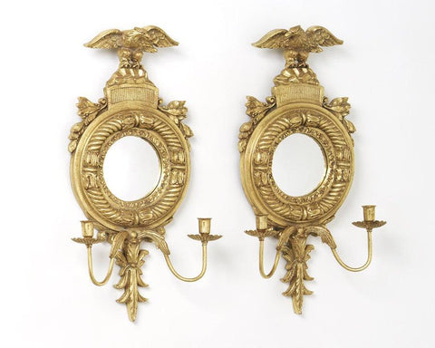Girandole Convex Mirrors With Eagles And Candle Holders MC-6