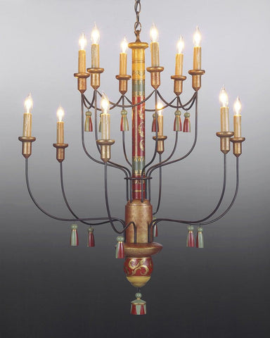 Wood And Metal Twelve Light Tiered Chandelier LCHSC-8