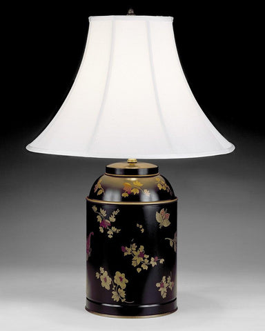 Tole Canister Table Lamp With Floral And Butterfly Design LTF-16