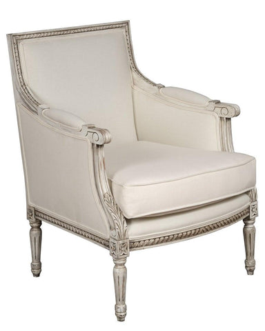 French Louis XVI style Berge're upholstered arm chair FSFI-33