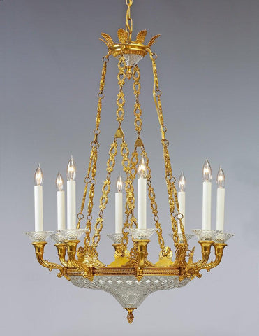 Cast brass and crystal Regency style eight light chandelier LCC-30