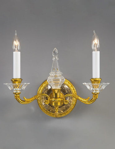 Brass Crystal Federal Style Two Light Sconce LSFI-133