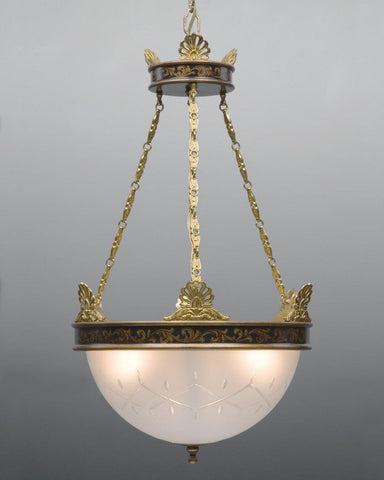 Brass and tole with frosted glass three light chandelier LCFI-39