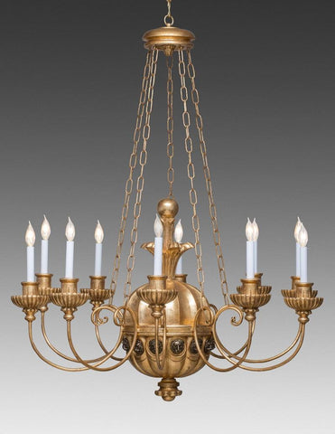 Wood And Metal Ribbed Melon Design Ten Light Chandelier LCFI-76
