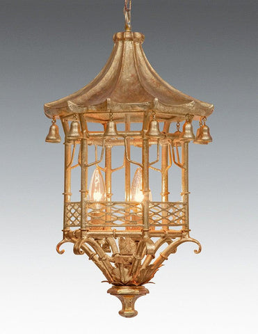 Metal And Wood Pagoda Design Lantern LL-99A