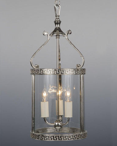 Greek Key Design Hanging Lantern in Polished Nickel LL-5B