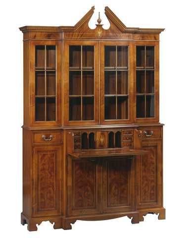 Stepback Desk And Bookcase With A Broken Pediment Top With Finial FDS-5b