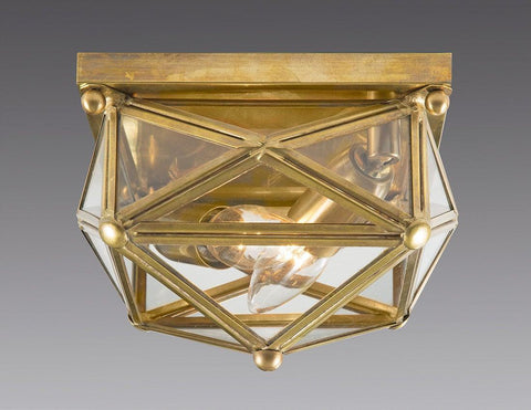 Brass And Glass Square Star Design Ceiling Mount Lantern LCM-34
