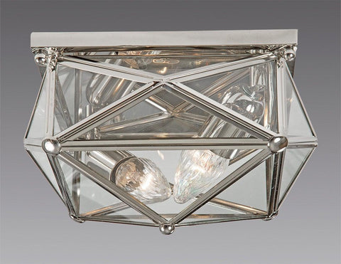 Brass And Glass Square Star Design Ceiling Mount Lantern LCM-32