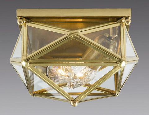 Brass And Glass Square Star Design Ceiling Mount Lantern LCM-33