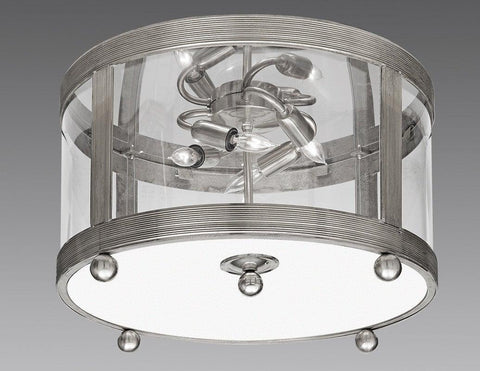 Brass Ribbed Top And Bottom With Ball Feet Ceiling Mount Lantern LCM-29