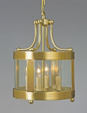 Brass Ribbed Shortened Lantern With Ball Feet LL-116