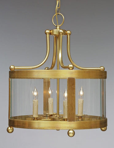 Brass Ribbed Shortened Lantern With Ball Feet LL-114