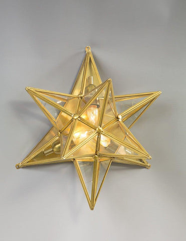 Brass And Glass Star Design Sconce LSFI-136
